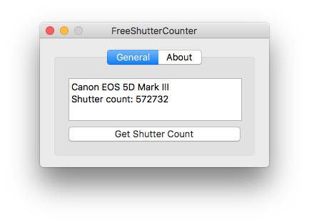FreeShutterCounter - check Canon EOS shutter count (Mac)